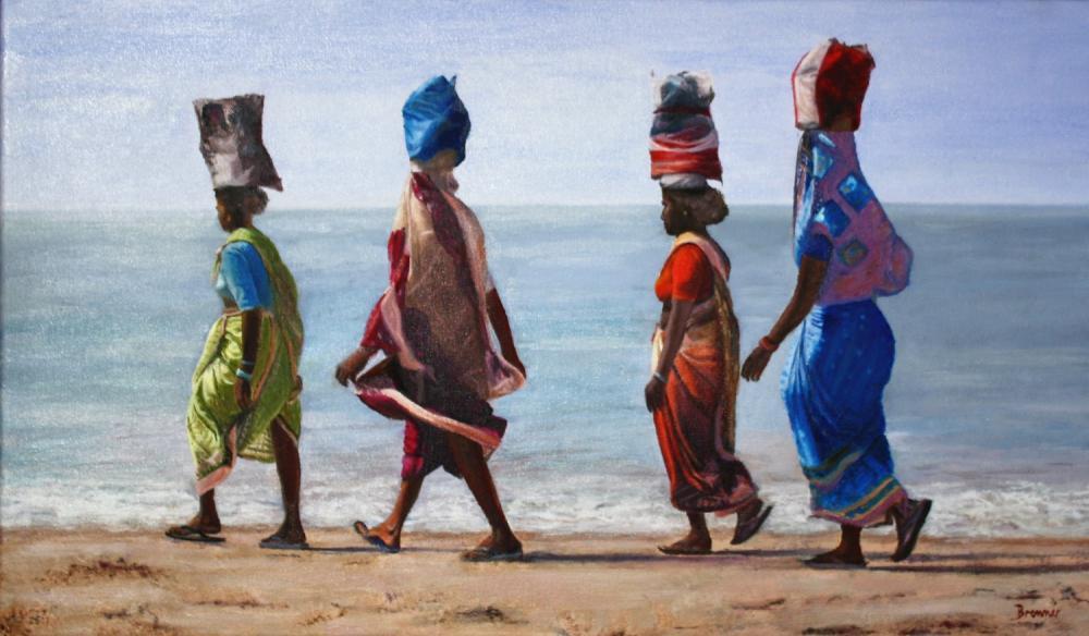 Indische Frauen am Meer, 2015, Öl auf Leinwand, 60 X 35 cm