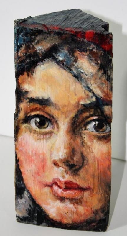Großmutter der Künstlerin mit 14 Jahren, 2010, Acryl auf Holzscheit, ca. 15 X 25 X 10 cm