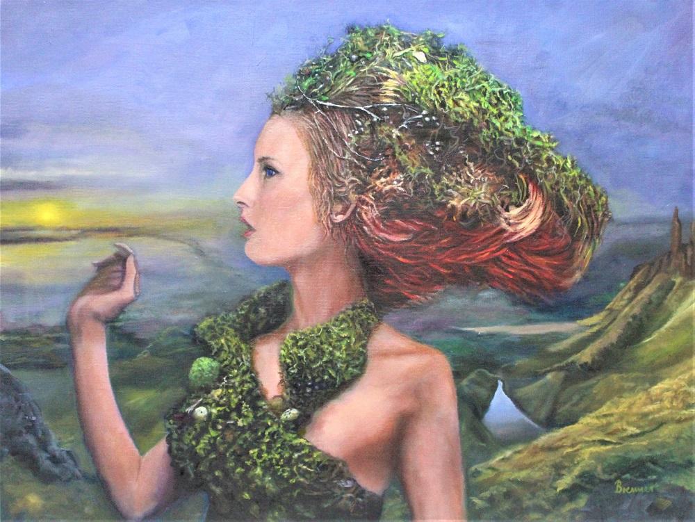Natural Fee - beim ersten Anblick der Welt nach Verlassen ihres Reichs Avalon, 2020, Öl auf Leinwand, 60 X 45 cm