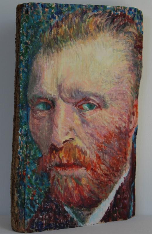 Vincent van Gogh, 2019, Acryl auf Holzscheit, ca. 15 X 25 X 10 cm
