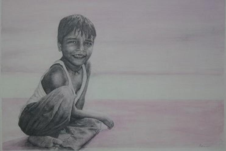 Junge am Ganges, 2010, Bleistift und Aquarell auf Papier, 68 X 48 cm