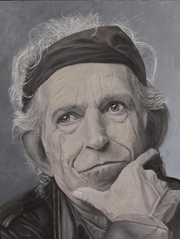 Keith Richards, 2018, Öl auf Leinwand, 70 X 90 cm