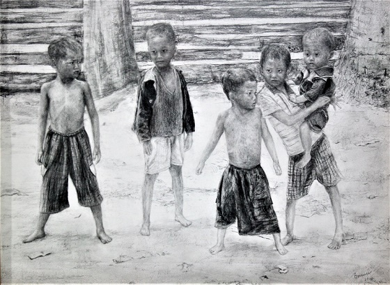Kinder in Vietnam, 2010, Bleistift auf Papier, 65 x 50 cm