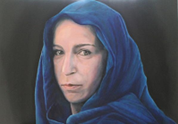 Frau mit blauem Tuch, 2018, Öl auf Holz, 70 X 50 cm