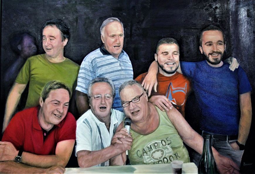 Dorffest in Matraia/Toskana, 2017, Öl auf Leinwand, 100 X 70 cm