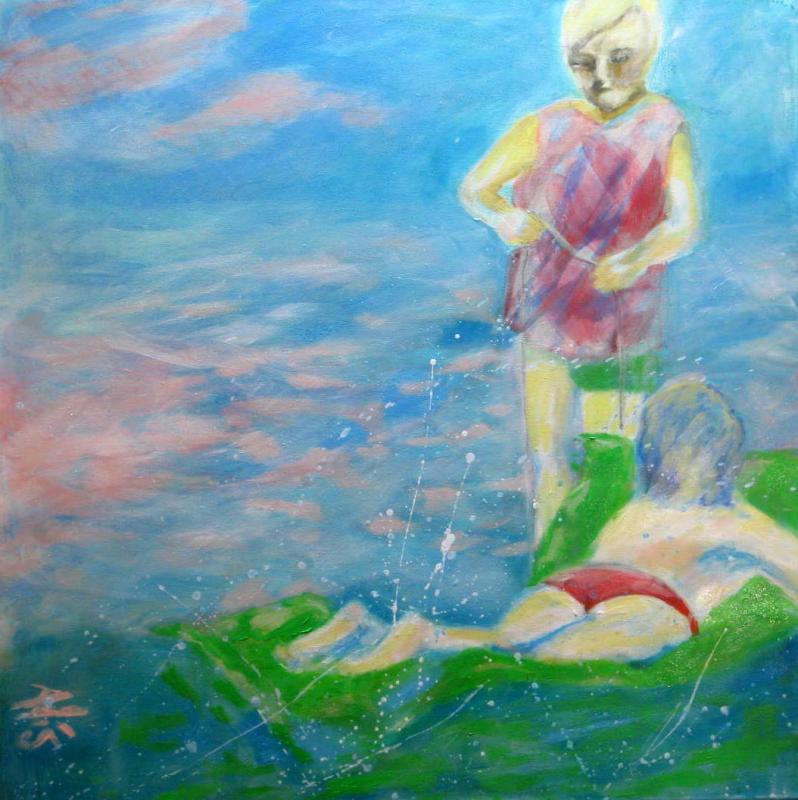 Wasserspiele 60x60 Öl auf Leinwand