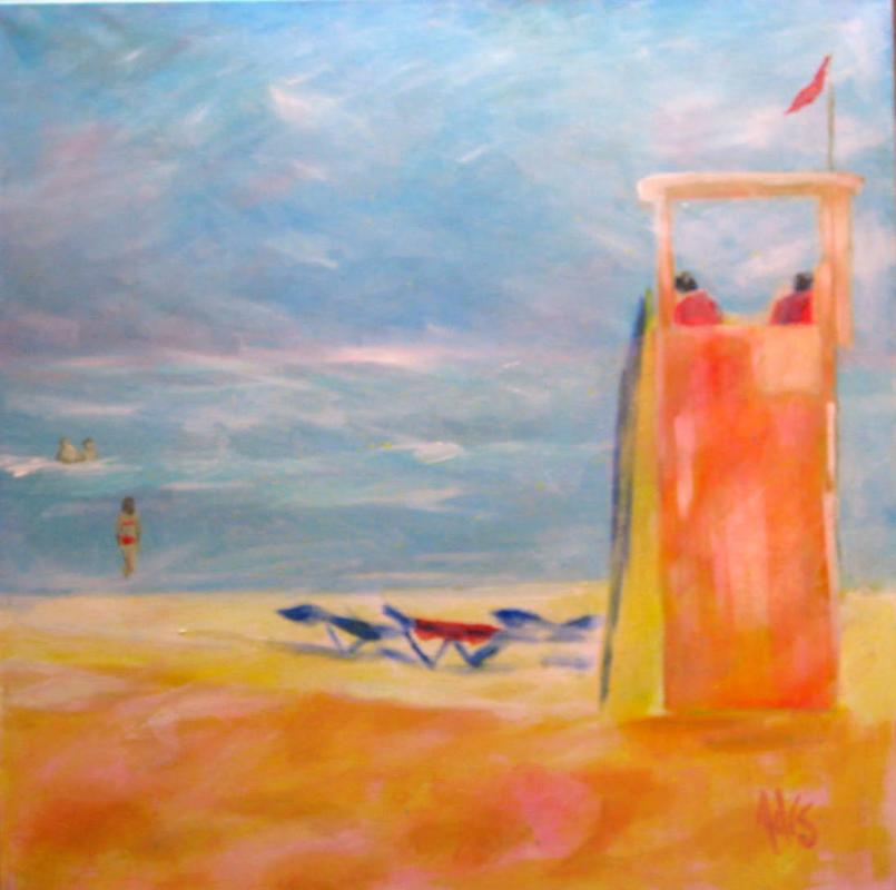 Strandwacht 60x60Öl auf Leinwand