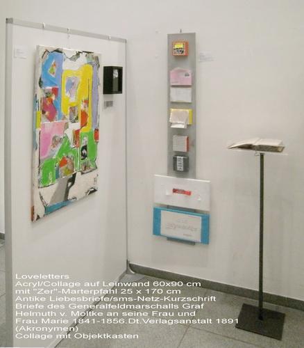 Nr. 818 Loveletters Acryl auf Leinwand 60x90 cm mit Installation
