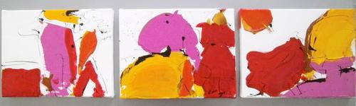Nr. 777 Beziehungen 3 x 24x18 cm Acryl und Tinte auf Leinwand