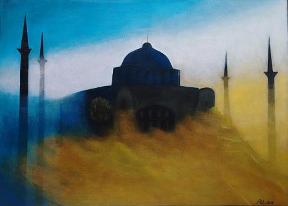 602 Moschee im Sturm 70x50