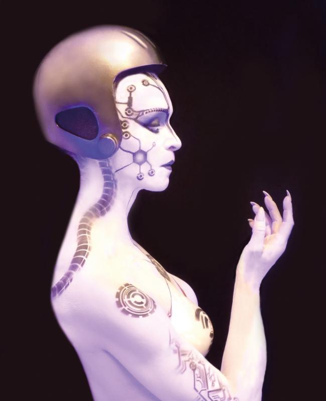 Bild von Ulrike Grimm als HEL in der Perfromance Mensch-Maschine