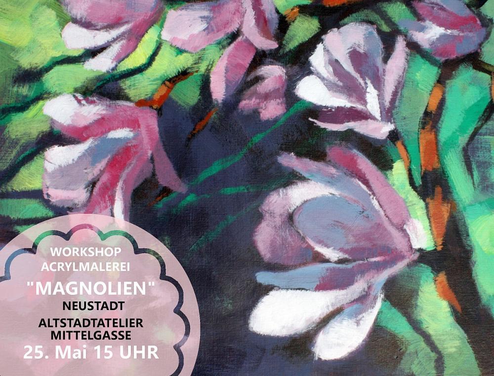 Acrylmalerei Magnolien